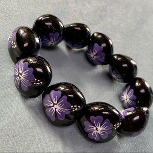 ❤️5 for $15 Kukui Nut Hand Painted Hawaii Flower Beaded Stretch Bracelet